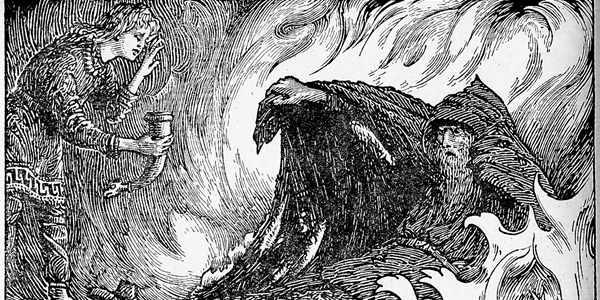 Odin in Torment by W. G .Collingwood (1908). The illustration depicts the prince Agnar handing a horn of drink to a flame-beset Grimnir.